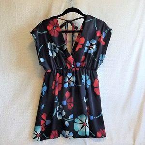 Satiny Floral Mini Dress
